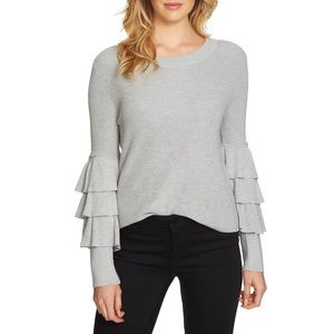 1. State Gray Tiered Ruffle Sleeve Sweater